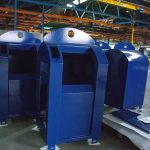Blauwe vuilnisbakken van Reinis (gemeentereiniging Spijkenisse)